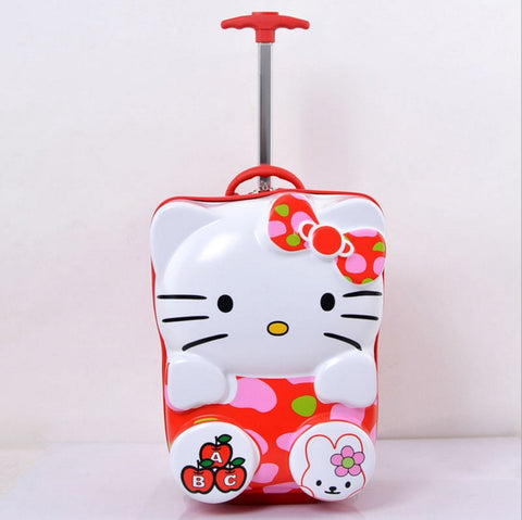 New Cute Children'S Carry-Ons  Spinner Suitcase 3D Cartoon Girls  Trolley Case Hello Kitty