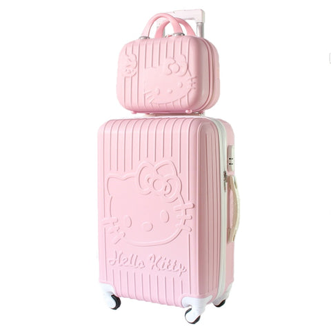 Hello Kitty Travel Suitcase Set With Wheel Rolling Luggage Spinner Trolley Case Woman Cosmetic Case