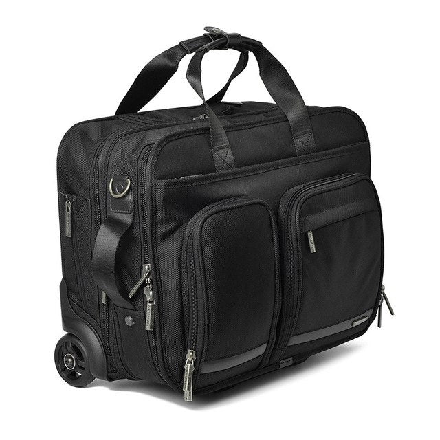 Oxford16 Inch Business Trip Rolling Luggage Multifunction Suitcase Wheels Men Carry On Trolley