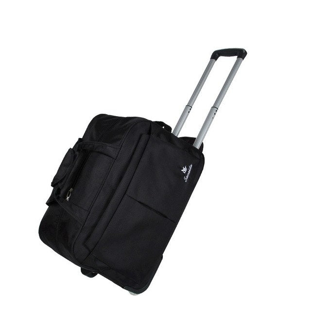 Casual Solid Travel Bag Suitcase Carry On Wheels Trolley Nylon Waterproof Men Women Rolling