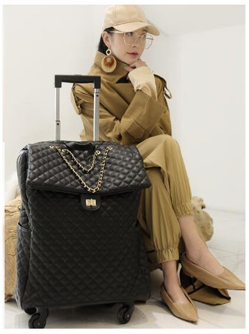 Brand Women Carry On Luggage Bag Cabin Travel Trolley Bags On Wheels Rolling Luggage Bag For