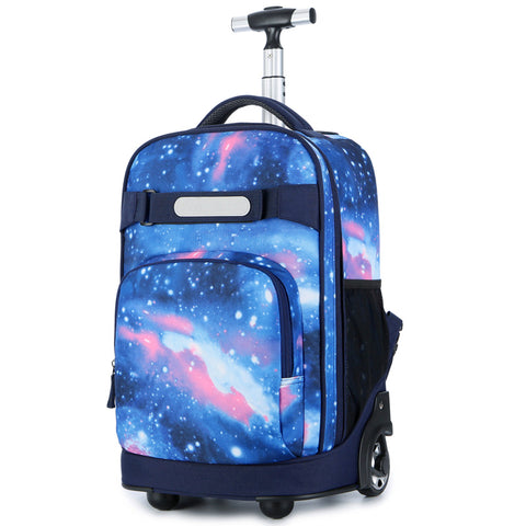One-Way Wheel Rod Double Shoulder Backbag,Student Canvas Back Trolley Case,Dual-Use