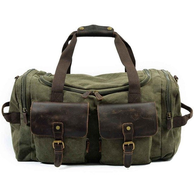 Canvas Leather Travel Bag Carry On Luggage Bags Men Military Duffel Bags Travel Tote Large