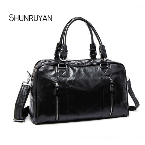 Shunruyan Cow Leather Men Travel Bags Carry On Luggage Bags Men Duffel Bags Travel Tote Large