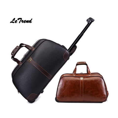 Letrend Business High-Capacity Hand Travel Bag Pu Leather Rolling Luggage Trolley Bag Carry On