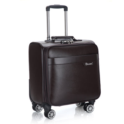 Genuine Crocodile Grain Trolley Case,Pu Business Suitcase,18 Inch Boarding Box,Universal Wheel