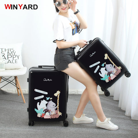 Trolley Luggage Travel Bag Small Fresh24 20 Universal Wheels Luggage,Lovely Girl Cartoon Trolley