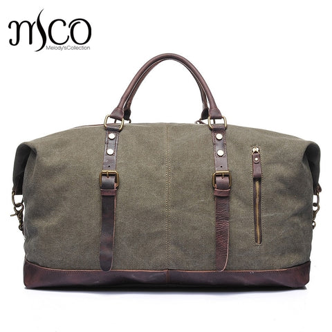 Canvas Leather Men Travel Bags Carry On Luggage Bags Men Duffel Tote Large Capacity Weekend Bag