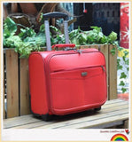 Wholesale!16Inches Pu Leather Commercial Trolley Luggage On Fixed Caster,High Quality Travel