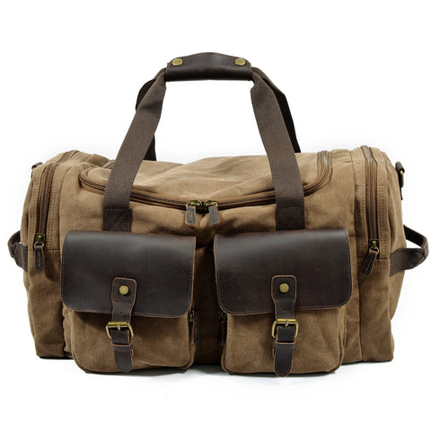 Man Vintage Military Travel Duffel Bag Multi-Pocket Canvas Overnight Bag Leather Weekend Carry On