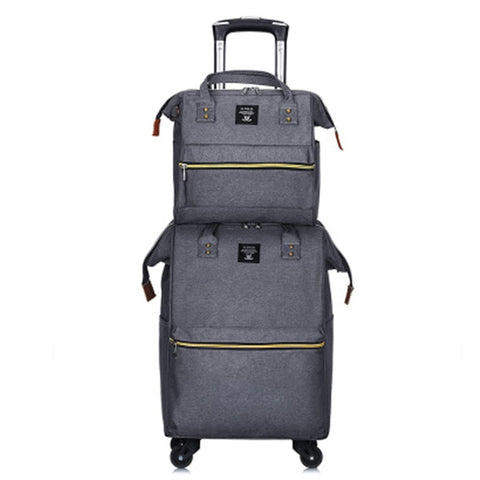 Set Luggage Portable Trolley Travel Backpack Trolley Bag Women Fashion Lightweight Large Capacity
