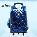 Letrend Cute Owl Rolling Luggage Backpack Kids Children Cartton Backpack Trolley Suitcase Wheels 18