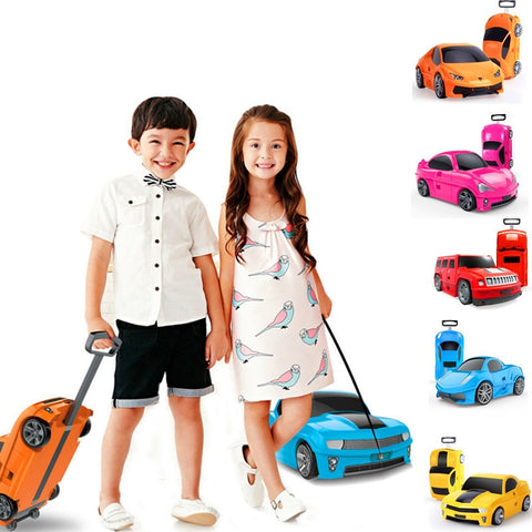 "High Quality Pc Trolley Case,Children'S 18""Boarding Box,Cartoon Car Storage Box,Male And Female"