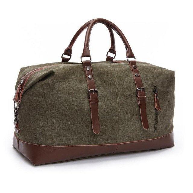 Zuoxiangru Canvas Leather Men Travel Bags Carry On Luggage Bags Women Men Duffel Bags Travel Tote