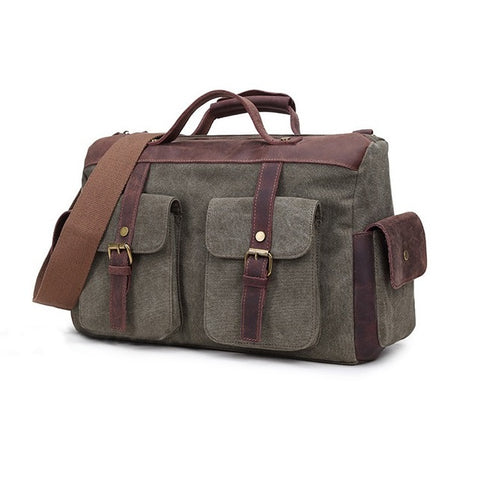 Vintage Canvas Leather Men'S Travel Bags Carry On Luggage Bags Men Duffel Bags Travel Tote Large