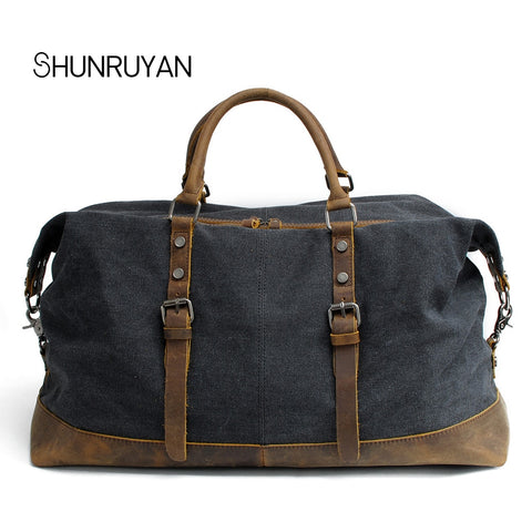 Shunruyan Canvas Cow Leather Men Travel Bags Carry On Luggage Bags Men Duffel Bags Travel Tote