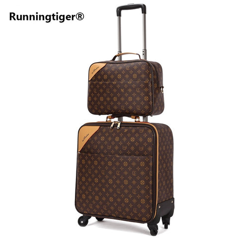 "Women Rolling Luggage Travel Suitcase Bag ,Pvc Trolley Case With Wheels,16""20""22""24"" Inch"
