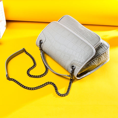 Genuine Leather Handbags Fashion Women Shoulder Bag Chain Strap High Quality Clutch Bag Ladies