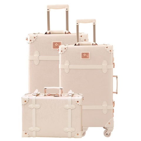 Women Trolley Suitcase Set Lightweight Travel Luggage Carry On Leather Trunk 3 Pieces Kids Children