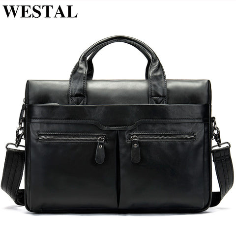 Westal Business Laptop Bags For Men Genuine Leather Men'S Bag Messenger Bag Men Leather Shoulder