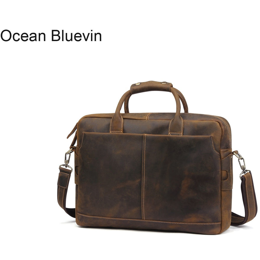 Ocean Bluevin Arrival Genuine Leather Men Bags Leather Men Briefcase Laptop Handbag Messenger Bag
