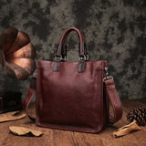 Aetoo Leather Handbags New Square Tote Bag Handmade Soft Leather Diagonal Bag Female Retro Portable