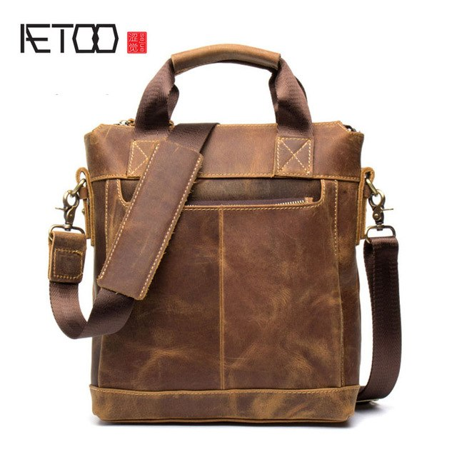 Aetoo Business Crazy Horse Leather Men'S Bunny Cow Leather Retro Handbag Leather Shoulder Messenger