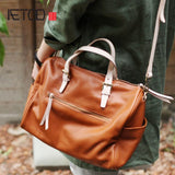 Aetoo Autumn And Winter New Simple Top Layer Soft Leather Large Capacity Portable Boston Bag Ladies