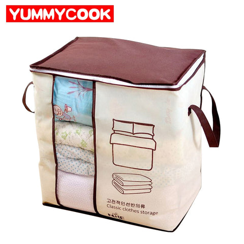 Non-Woven Portable Clothes Storage Bag Pillow Quilt Blanket Bedding Wardrobe Family Save Space