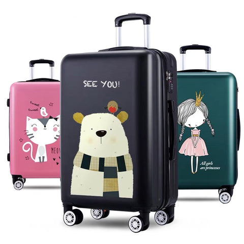 Women Lovely Travel Suitcase 20Inch Boarding Box 26 Inch Rolling Luggage Girls Spinner Travel Bag
