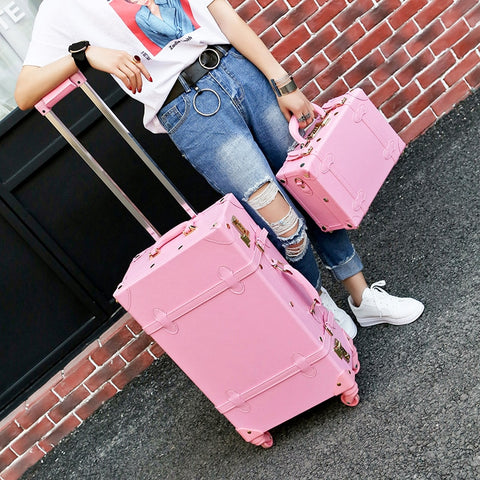 Wholesale!High Quality Girl Pu Leather Trolley Luggage Bag Set,Lovely Full Pink Vintage Suitcase