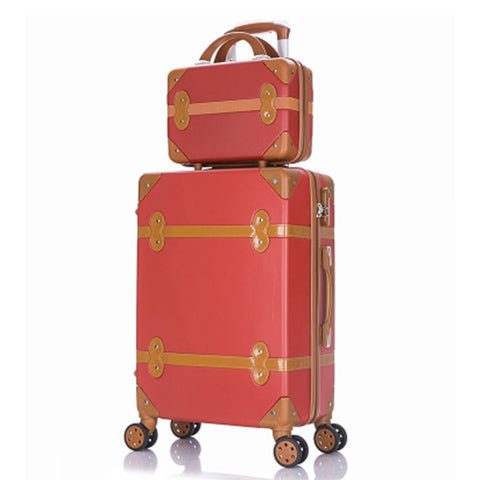 Travel Suitcase Set Rolling Luggage Trolley Case Travel Bag 24 Inch Retro Suitcase Wheels Women