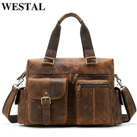 Westal Men'S Travel Bags Genuine Leather Big/Weekend Bag Luggage Duffel Travel Bags Hand Luggage