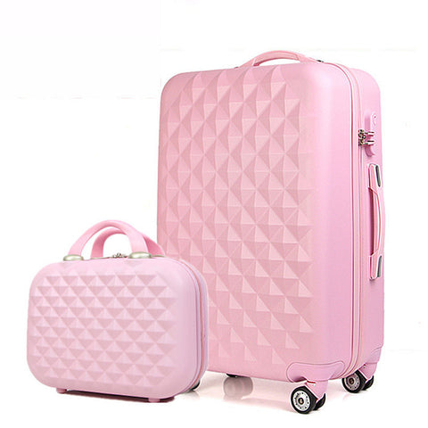 Women'S Luggage,2 Piece Set Of Trolley Case,Small Fresh Password Trunk,Cute Valise,Candy Color