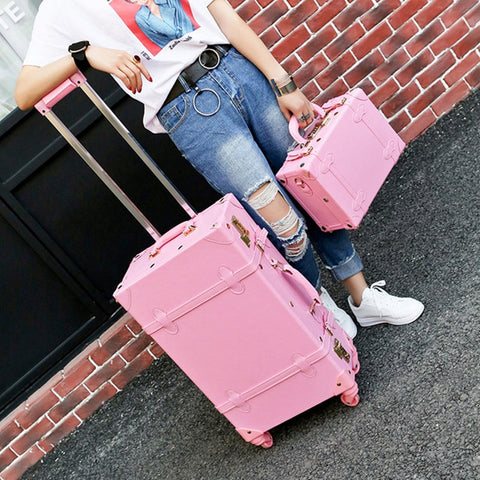 Fashion!Lovely Girl Pu Leather Travel Luggage Set,Full Pink Vintage Trolley Luggage For