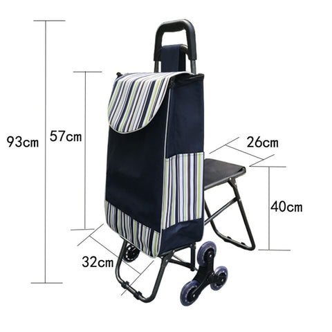 Three-Wheels Stair Woman Shopping Cart Ladder Shopping Basket Large-Capacity Shopping Trolley
