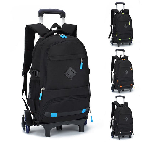 New Fashion Removable School Bags Children Trolley School Backpack Wheels Travel Bag Schoolbag Kids
