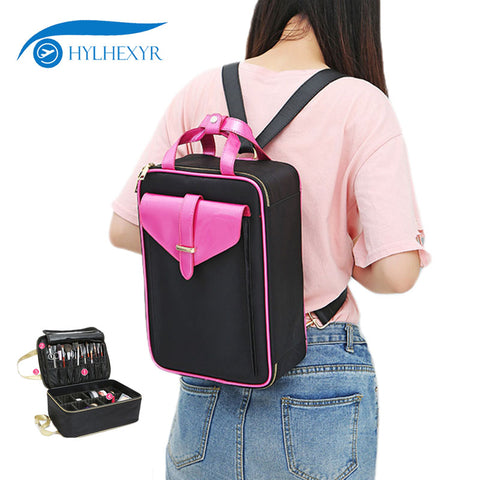 Hylhexyr Makeup Box Professional Portable Totes Shoulder Bag Cosmetic Case Toiletry Backpack
