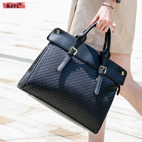 Bjyl New Genuine Leather Women Briefcase Female 14 Inch Laptop Shoulder Bag Business Handbags