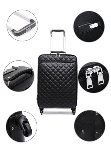 "Fashion High Quality Women Spinner Rolling Luggage Set 24"" Inch Lady'S Cabin Trolley Bag Leather"