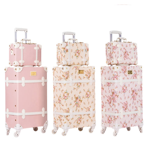 Beasumore Retro Pink Pu Leather Rolling Luggage Set Spinner Suitcase Wheel Vintage Cabin Trolley