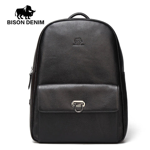 Bison Denim Genuine Leather Male Backpack Casual Travel Daypack Laptop Backpack For College Cowskin