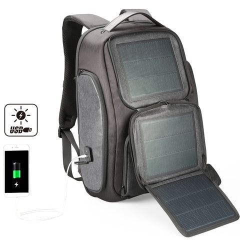 Abdb-Kingsons Upgraded Solar Backpack Fast Usb Charging Backpack 15.6 Inches Laptop Backpacks Men