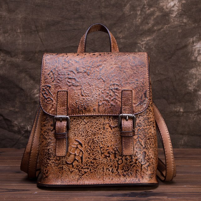 Genuine Embossed Leather Women Backpack Girls School Rucksack Brush Color Capacity Knapsack Cowhide