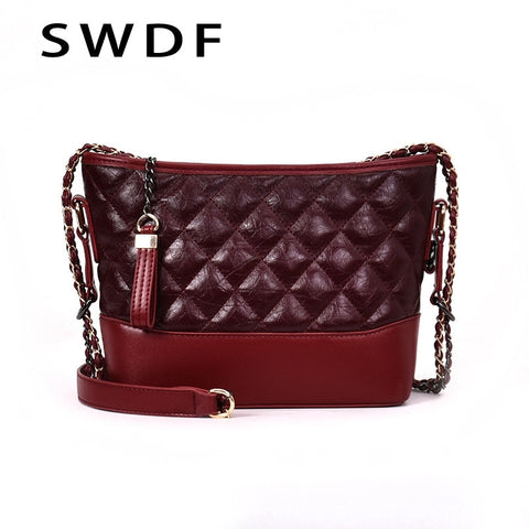Swdf Women Leather Bags For 2019 Simple Shoulder Bags Mini Package Chain Messenger Crossbody