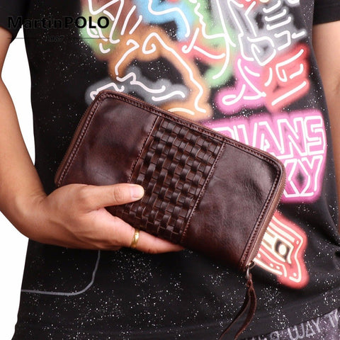 New Luxury Brand 100% Top Genuine Cowhide Leather High Quality Men Long Wallet Coin Purse Vintage