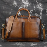 Real Genuine Leather Men Business Tote Briefcase Crossbody Bags Vintage Male Messenger Laptop