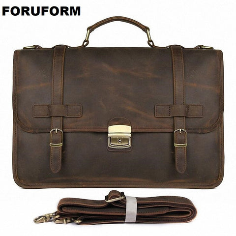 "Vintage Men'S Genuine Leather Briefcase 14"" Cowhide Business Bag Cow Leather Laptop Double Layer"