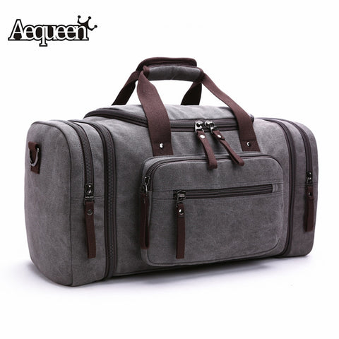 2018 Men Travel Bag Canvas Multifunction Leather Bags Carry On Luggage Bag Men Tote Large