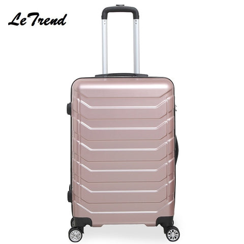Letrend Fashion Color Abs Rolling Luggage Spinner Women Trolley Suitcase Wheels 20/24 Inch Carry On